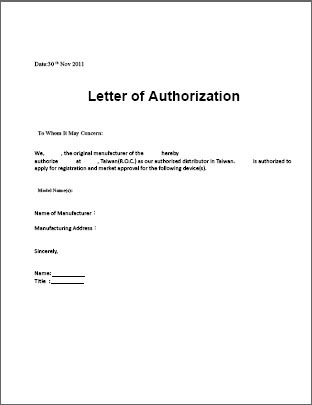 Letter Of Authorization Authorization Letter   Authorization